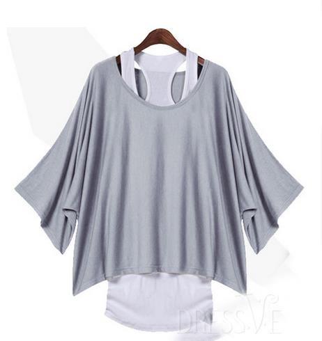 Khaki/Black/Gray Round-Neck Bat Sleeve Loose T-Shirt