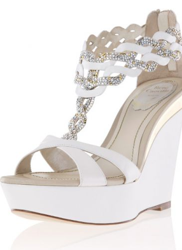 Rene Caovilla White Wedge Sandal with Crystal Weaving