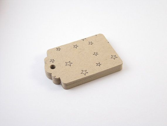 20 kraft brun étoiles étiquettes volantes - étiquette-cadeau Kraft, étiquette-cadeau de Stars ; Étiquette volante de Kraft ; Étiquette en papier Kraft ; Papier cartonné Tag | Balise rectangulaire Kraft