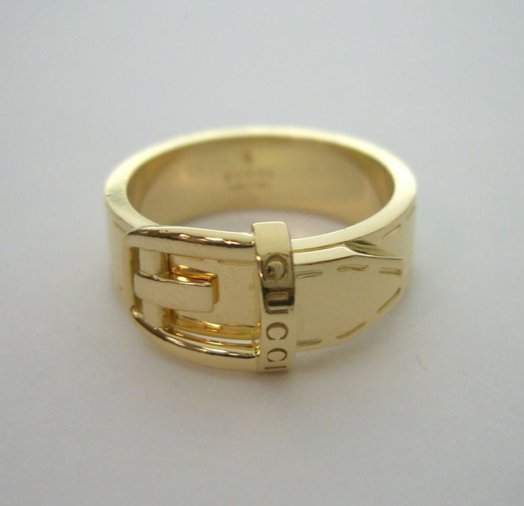 genuine signed gucci logo 6mm belt buckle ring 18k yellow