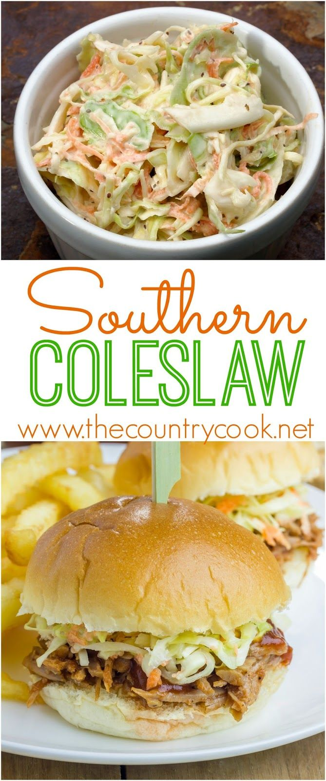 Southern Coleslaw recipe from The Country Cook. So good by itself or on pulled pork sandwiches!