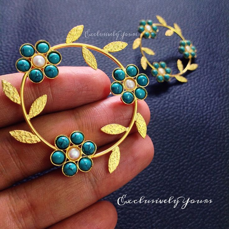 Beautiful Matte finish leaves with turquoise beads - Create a master piece for Ears.! Make it yours @ ExclusivelyYours. INR : 1200 Email : CustomerCareEY@gmail.com WhatsApp : +91-999-444-0659