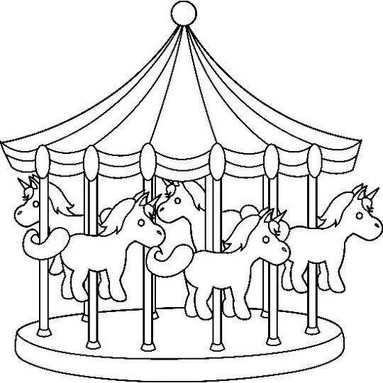 Night Carnival Carousel Coloring Picture Coloring Pictures Coloring Pages For Boys Coloring Pages