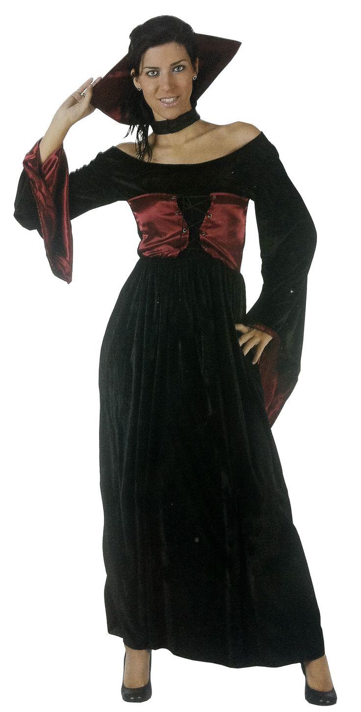 Déguisement vampire femme Halloween : Ce déguisement de vampire pour femme comprend une robe et une collerette (chaussures non incluses). La robe à manches longues est noire avec un aspect velours et un corset à...