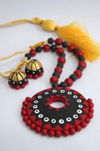 Handmade Terracotta Jewellery, Contemporary Necklace Earring Set, Black & Red - SharePyar - 2