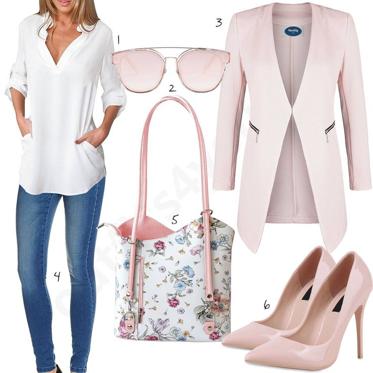 Elegantes Damen-Outfit mit weißer Bluse, Sonnenbrille, rosafarbenem Blazer, blauer Only Skinny Jeans, Handtasche mit Blumen-Muster und Pumps mit Spitze. #pumps #jeans #handtasche #outfit #style #fashion #womensfashion #womensstyle #womenswear #clothing #frauenmode #damenmode #handtasche  #inspiration #frauenoutfit #damenoutfit