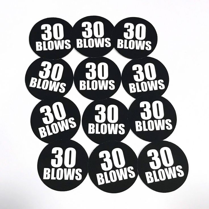 30th Birthday Stickers - 30 BLOWS - Round 1 1/2 Inch Handmade Stickers, Black and White, Set of 12 by CarasScrapNStampArt on Etsy
