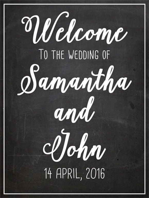 Printable wedding sign quot chalkboard poster