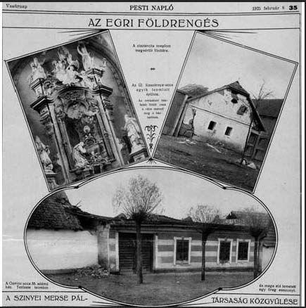 Eger, az 1925-ös egri földrengést, amely 5-ös erősségével Magyarország egyik legnagyobb természeti csapásának számít.