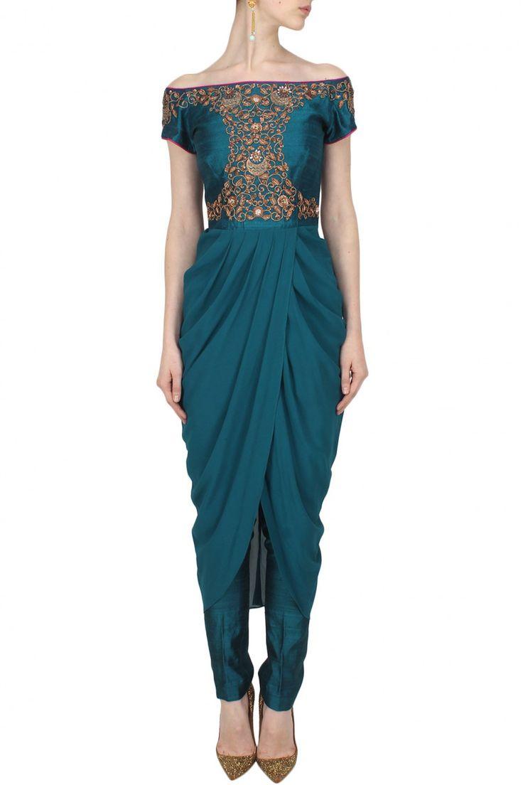 Tisha Saksena - Teal floral sequins embellished off shoulder drape kurta and straight pants set