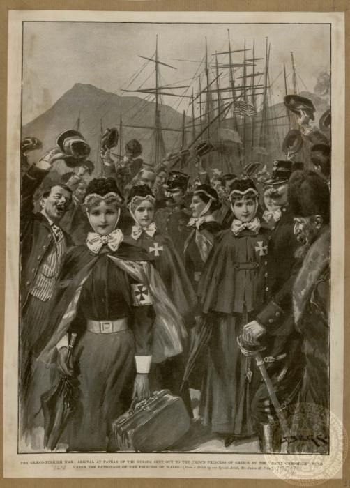 The Greco- Turkish war: Arrival at Patras of the nurses sent out to the crown princess.  The Illustrated London News, May 15, 1897.   of Greece by the ''Daily Chronicle' fund under the patronage of the princess of Wales
