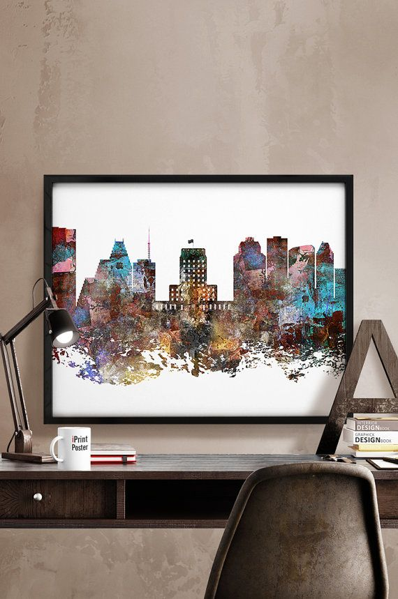 Houston skyline Houston poster Houston abstract by iPrintPoster