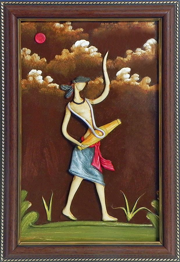 Vaishnav drummer wall hanging poly resin on hardboard for Clay mural painting