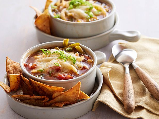 Spicy Fajita Soup recipe from Sandra Lee via Food Network and skip the fried tortilla chips