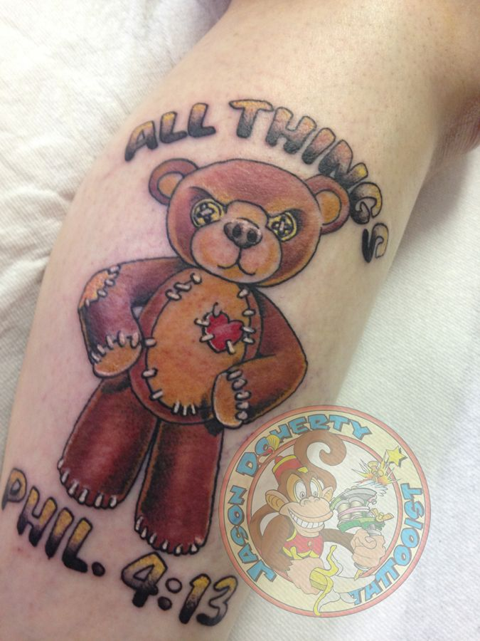 #stern #teddybear #tattoo My name is #jason #doherty I am a #Professional #tattoo #artist #tattooist or #tattooer making #amazing #tattoos in #beautiful #Northwest near #Portland #Oregon #USA Whether it be #neotraditional #traditional #scrimshaw #tattoo #blackandgray #sailingship #linework or just a simple #kanji tattoo I try to do my best with EACH tattoo I do regardless of the size or cost.