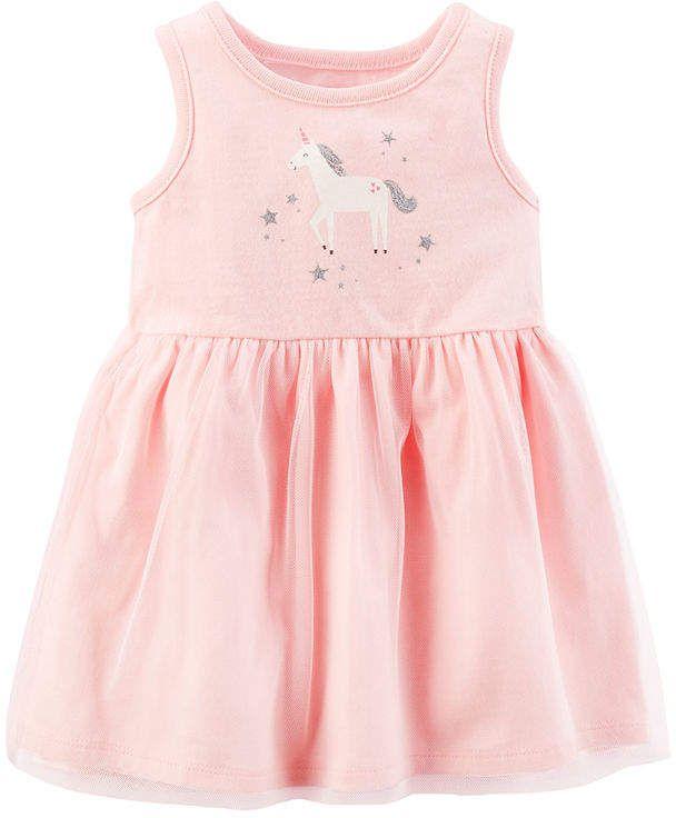 f18d294b1c CARTERS Pink Unicorn Sleeveless Fit   Flare Dress - Baby Girl NB-24M   babygirl