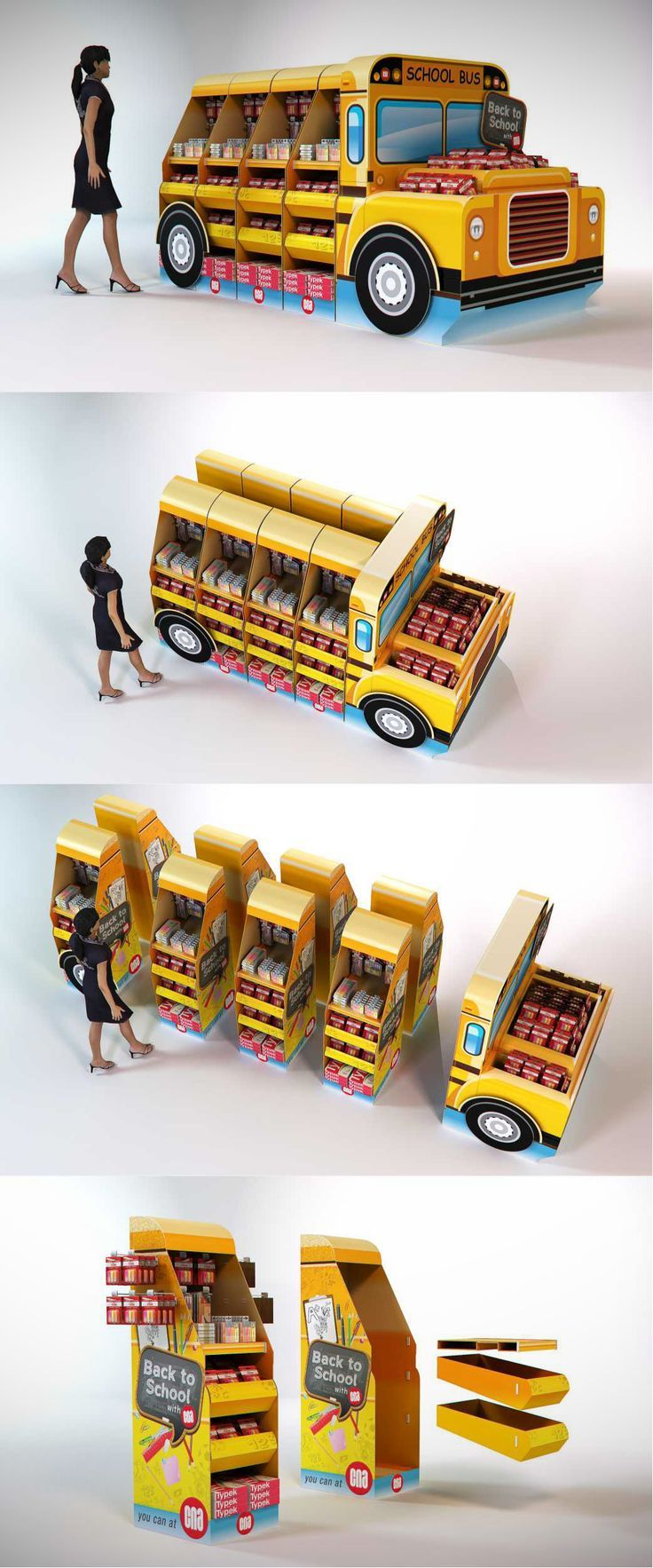 CNA back to school bus, POS, POP. Point of sale. Point of purchase.: