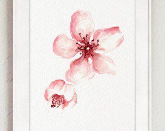 Fleurs de cerisier, impression de beaux-arts, ensemble de 2, décor à la maison rose, idée cadeau de la fête des mères, décor à la maison de Sakura Tree japonais   – uñas