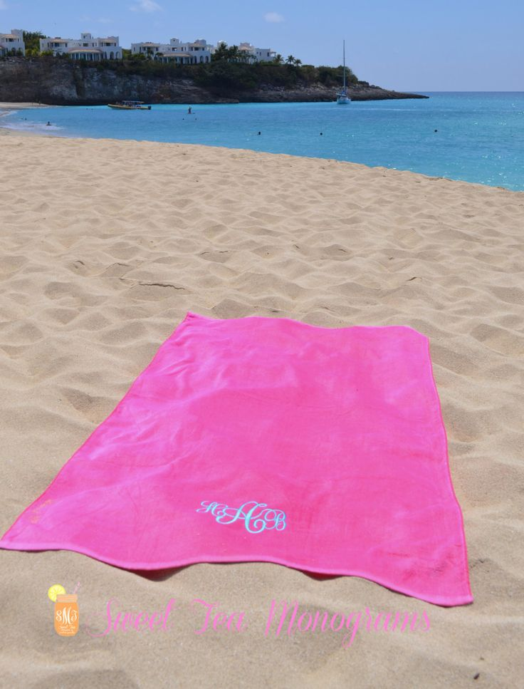 Monogram Beach Towel. Maybe not this one, but good idea for a beach destination honeymoon