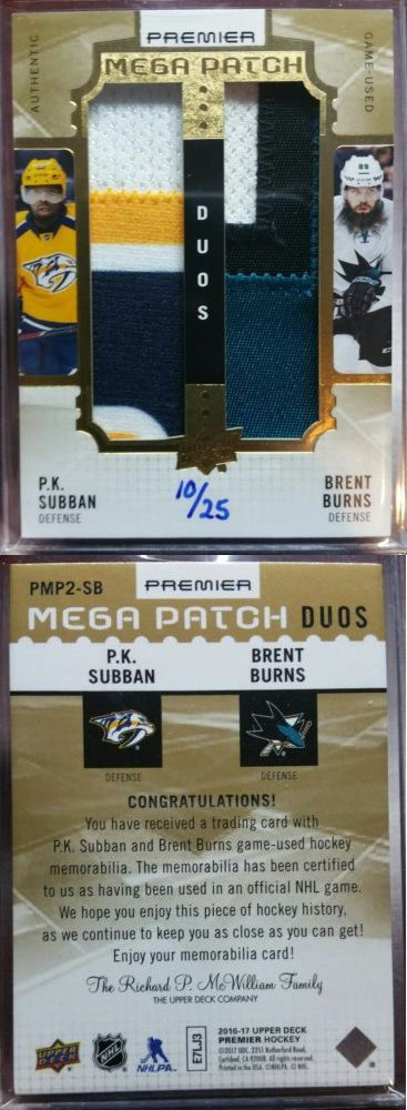 Ice Hockey Cards 216: 2016-17 U.D. Premier Mega Patch Duos P.K. Subban Brent Burns # 25 -> BUY IT NOW ONLY: $99.95 on eBay!
