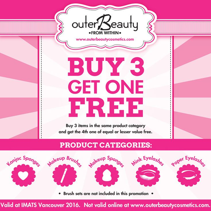 How can we make IMATS Vancouver even better? Buy 3 items in any one category and get the 4th one free! #imats #imatsvancouver #imatsvancouver2016 #makeupshow #cosmetics #makeup #bbloggers #beautybloggers #makeupchat #makeuptalk #makeupjunkie #beauty #makeupaddict #mua #promua #makeupartist #promakeupartist #outerbeautycosmetics #outerbeautyinc