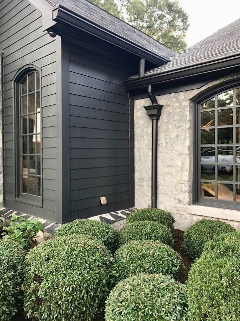 Spot black siding & downspout with stone exterior