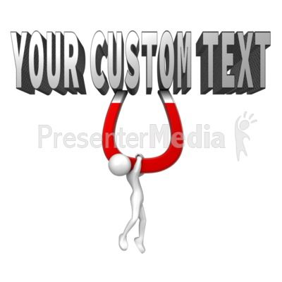 This custom text clip art shows a figure hanging from a magnet connected to some text. You can customize the text to your own words using our online text customizer. #powerpoint #clipart #illustrations