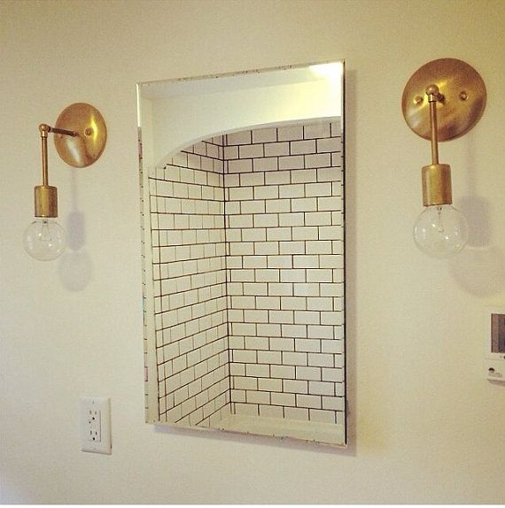 217 best lovely lighting images on pinterest bathroom for Gold bathroom wall lights