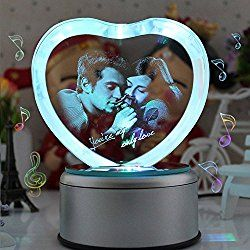 LIWUYOU Valentines Day Gift Personalized Custom Photo and Text Colorful Romantic 3D Heart Shaped Crystal Musical Boxes, Heart Couple, Music base