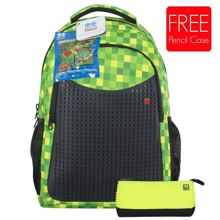 PIXIE CREW Student Backpack GREEN CHEQUERED + Pencil Case SET