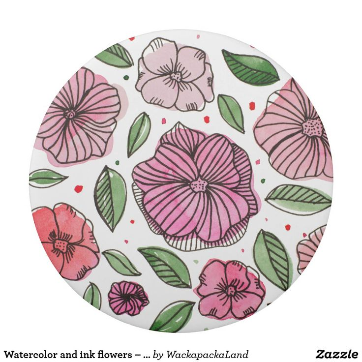 Watercolor and ink flowers – pink and green eraser. Delicate flowers and leaves made with watercolor shapes and inked details. Pink and green palette. #zazzle #backtoschool  #stationery #eraser #drawing #doodle #flowers #floral #ink #watercolor #leaf #leaves #foliage