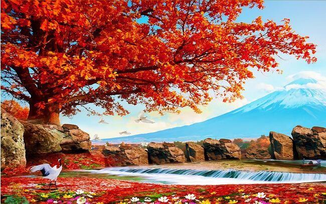 3d обои на заказ росписи нетканого 3d зал обои Красные листья пьян цю пейзажи росписи фото 3d настенные росписи обои