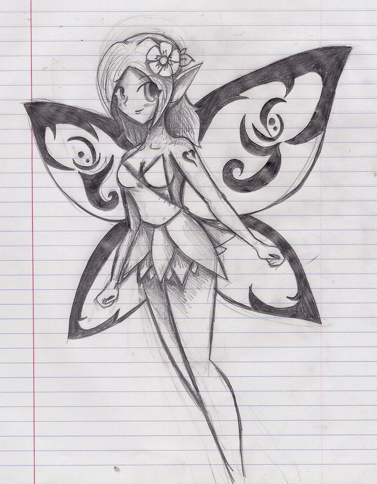 Easy beautiful fairy drawings in pencil images