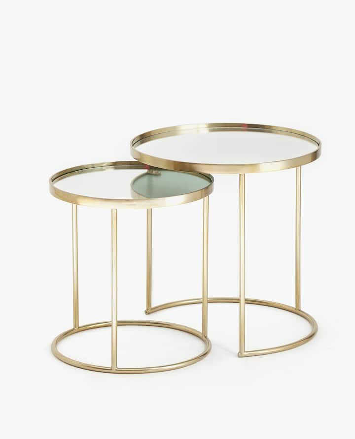 Miraculous Image Of The Product Mirrored Nesting Tables Set Of 2 Dailytribune Chair Design For Home Dailytribuneorg