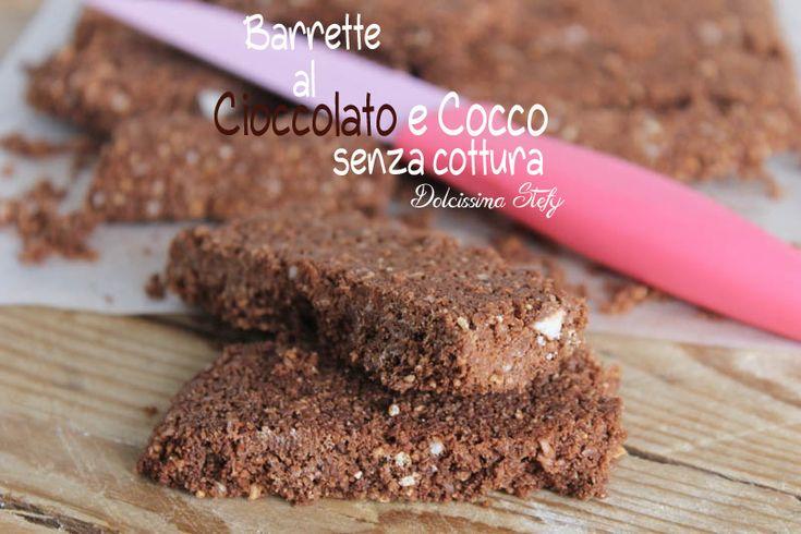Una ricetta Senza Cottura..le Barrette al Cioccolato e Cocco sono facilissime e velocissime da preparare..solo qualche minuti più il raffreddamento :D