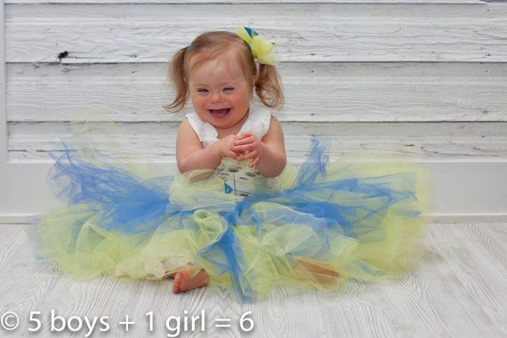 Tutu Yellow and Blue Down Syndrome Awareness by ritarebellodesigns.