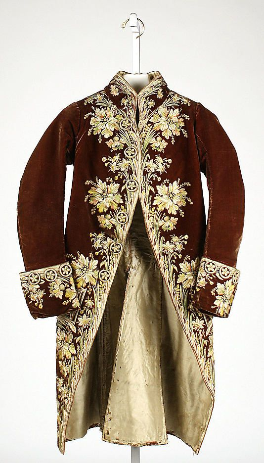 Coat, French circa 1775. http://www.metmuseum.org/Collections/search-the-collections/80013221?rpp=60=6=on=*=A.D.+1600-1800=Europe=Costume=317#