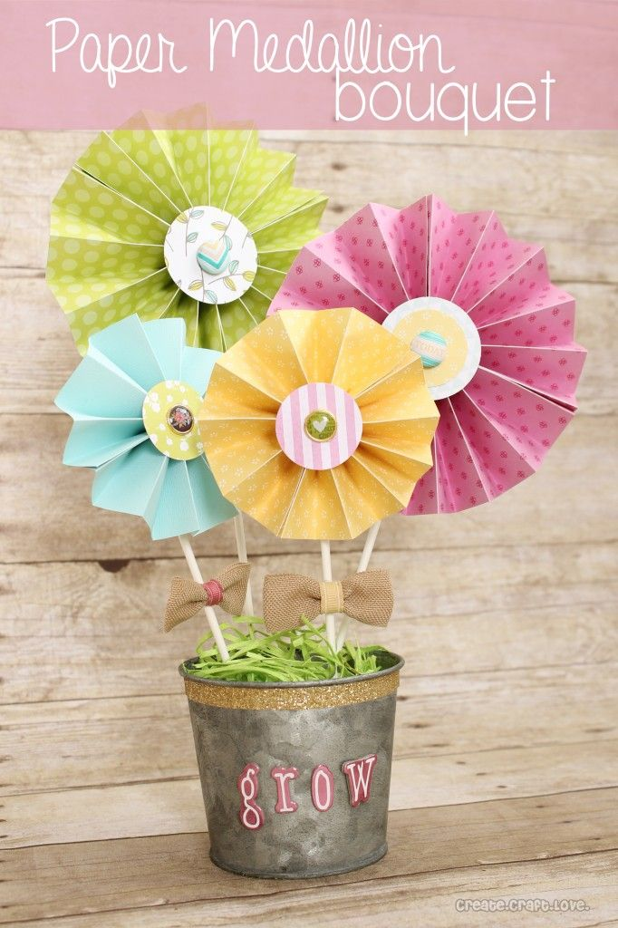 Paper Medallion Bouquet made from the new Dear Lizzy Fifth and Frolic Line via createcraftlove.com #medallions #papercrafts
