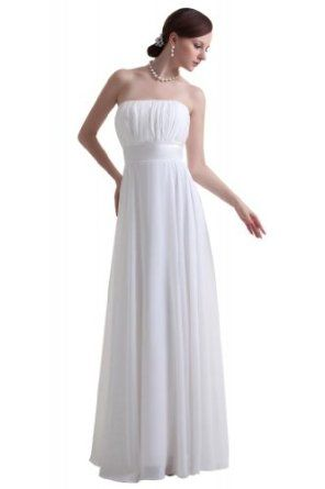GEORGE BRIDE brief strapless ruched summer chiffon beach wedding dress - $79.00 (Also available in plus size)
