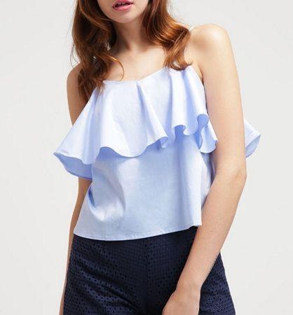 Glamorous Top z falbaną carmen sky blue peplum shirt