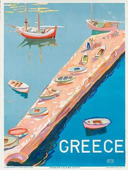 DP Vintage Posters - Original Greek Travel Poster Agean Island Jetty
