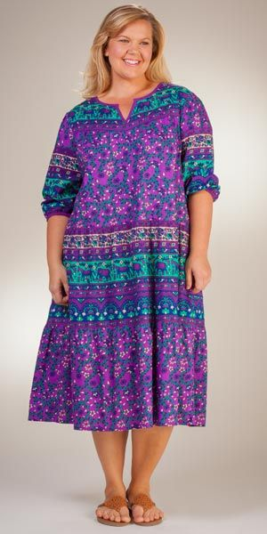 100% Cotton Plus La Cera 3/4 Sleeve Muumuu Lounger Dress in Floral Prints