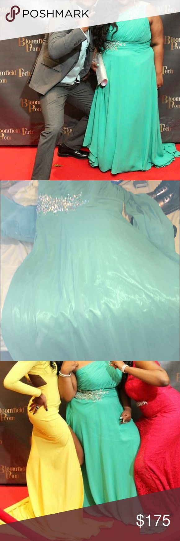 Plus size Prom Dress I know how hard it is for petite plus size girls to find dresses. I saw a picture online that I loved and got mine customer made. As hard as it is. It's just sitting in my closet taking up space. This is a sea-foam green prom dress with that goes over one shoulder. I wanted to show off the color. I'm 4'11 and about 200 pounds. C -cup and I fit in either 16 or 18. The dress is floor length in 4 inch heels. There is a train. It will be dry cleaned prior to shipment…