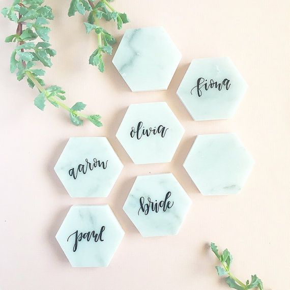 Set of 12 - Calligraphy Marble Place Cards - 2 each (.5 thick)  Add a sleek…