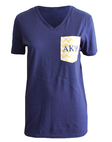 Alpha Kappa Psi Chevron Pocket Tee by Adam Block Design | Custom Greek Apparel & Sorority Clothes | www.adamblockdesign.com
