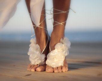 Flores de otoño descalza sandalia sandalia descalza de por FULYAK