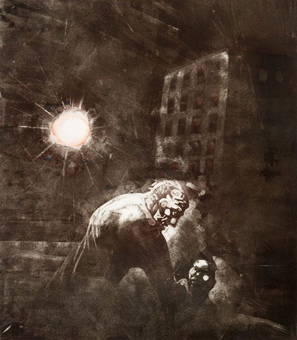 Peter Howson - Sea Town 6, Monoprint (2000)