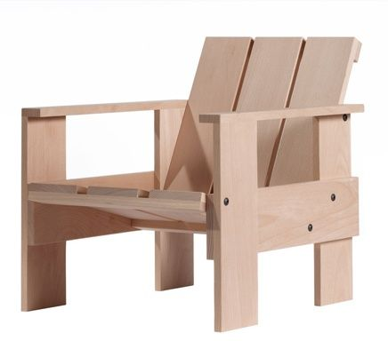 Gerrit Rietveld continued to design furniture experimenting with different materials, such as plywood, fibreboard, aluminium and bent metal, taking inspiration directly from the material in the manner of a sculptor. His crate chair (1935) was a response to the economic crisis of the 30′s was a kit form to be assembled at home using packing crate materials and put useful seating using basic structures and cheap materials within reach of the masses.