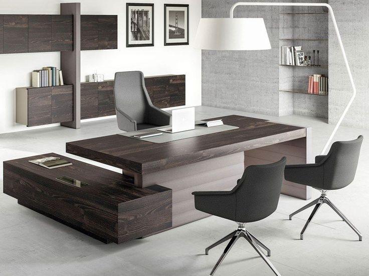 Escritorio de oficina ejecutivo de esquina con estantes for Estantes de oficina