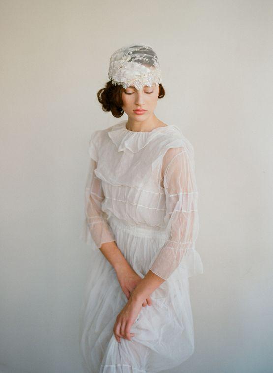 dress and bridal cap